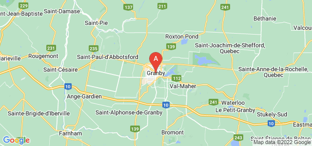 map of Granby, Canada
