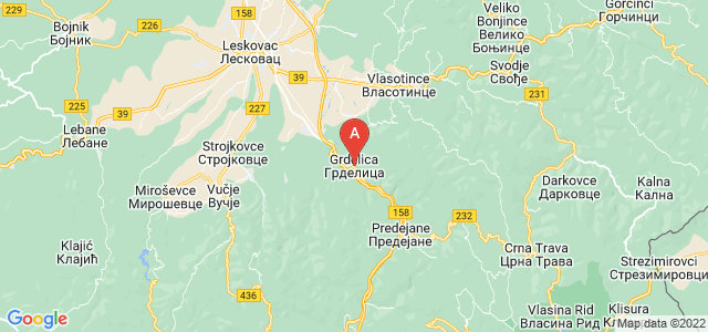 map of Grdelica, Serbia