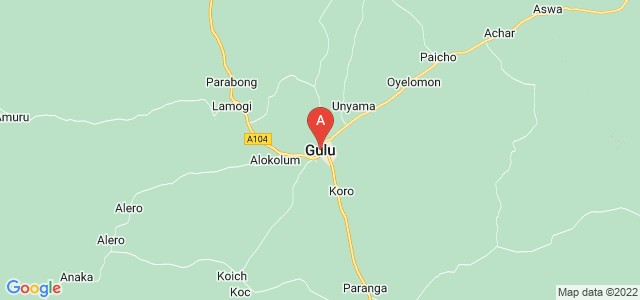 map of Gulu, Uganda