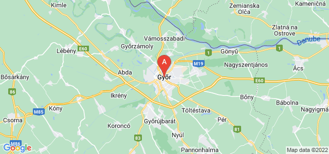 map of Győr, Hungary