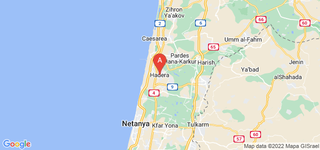 map of Hadera, Israel