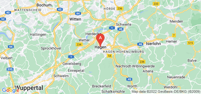 map of Hagen, Germany