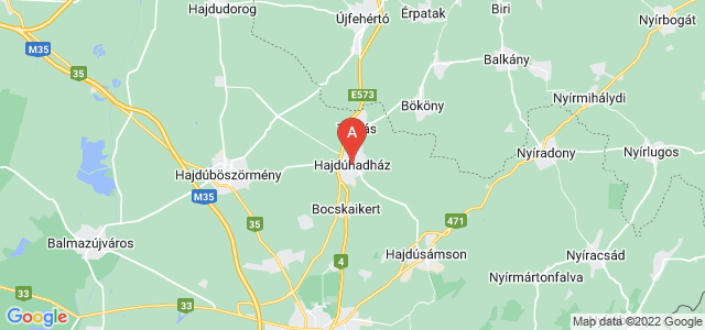 map of Hajdúhadház, Hungary