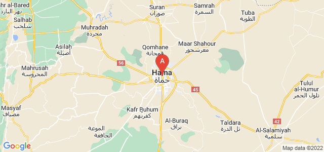 map of Hama, Syria