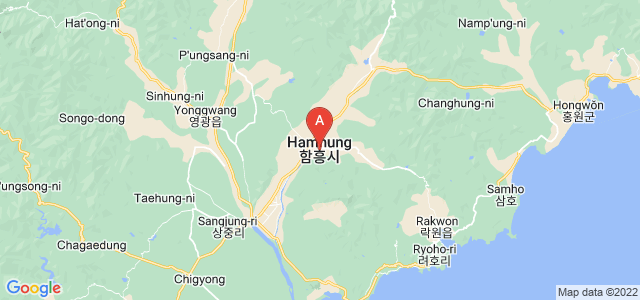 map of Hamhung, North Korea
