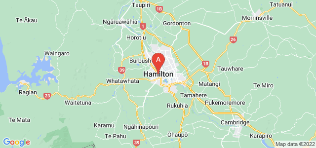 map of Hamilton, New Zealand