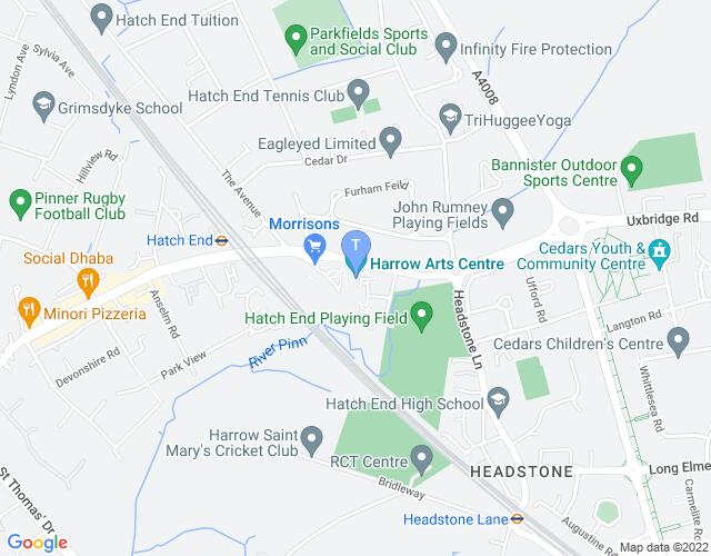 Location map for Harrow Arts Centre