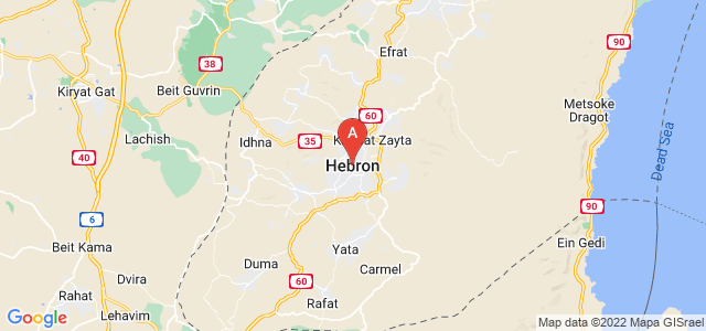 map of Hebron, Palestinian territories