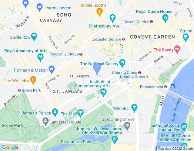 Location map for Her Majesty's Theatre