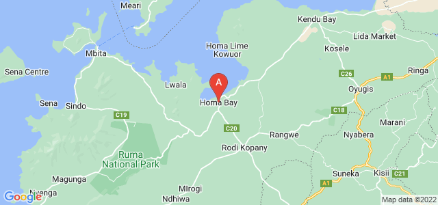 map of Homa Bay, Kenya