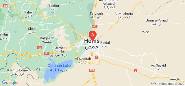 map of Homs, Syria
