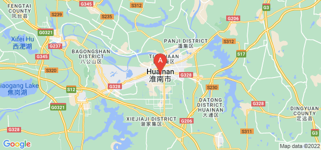 map of Huainan, China