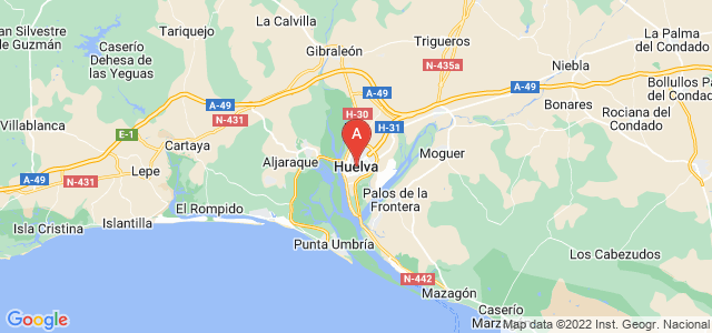 map of Huelva, Spain