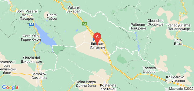 map of Ihtiman, Bulgaria