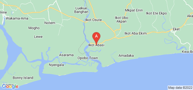 map of Ikot-Abasi, Nigeria