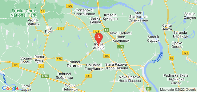 map of Inđija, Serbia