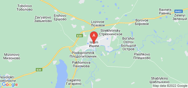 map of Ishim, Russia