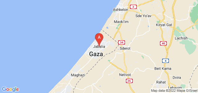 map of Jabalia, Palestinian territories