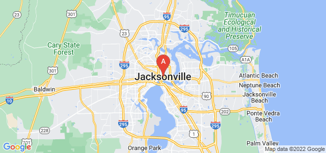 map of Jacksonville, United States of America