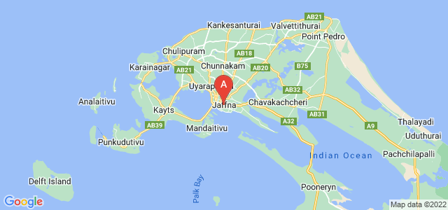map of Jaffna, Sri Lanka