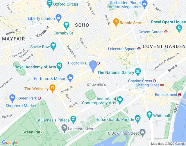 Location map for Jermyn Street Theatre