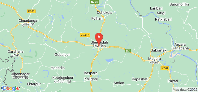 map of Jhenaidah, Bangladesh
