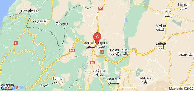 map of Jisr ash-Shugur, Syria