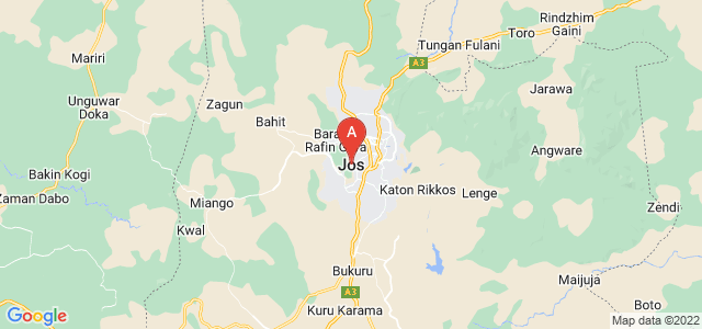 map of Jos, Nigeria