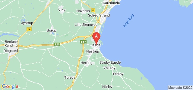 map of Køge, Denmark