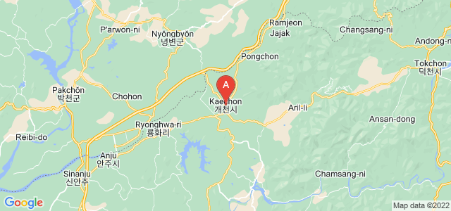 map of Kaechon, North Korea