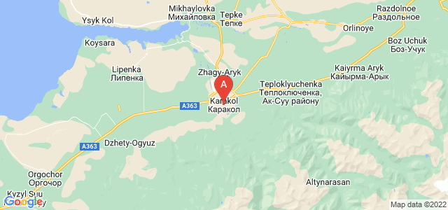 map of Karakol, Kyrgyzstan