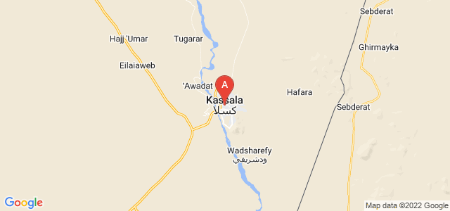 map of Kassala, Sudan