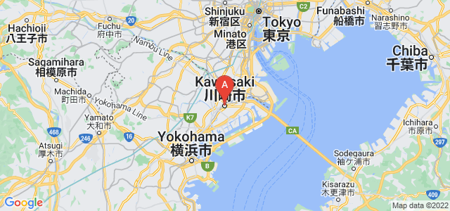 map of Kawasaki, Japan
