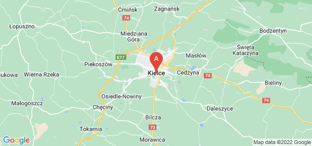 map of Kielce, Poland