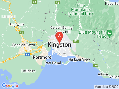 map of Kingston, Jamaica