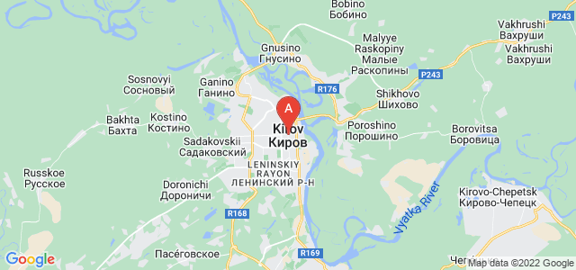 map of Kirov, Russia