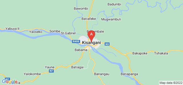 map of Kisangani, Democratic Republic of the Congo