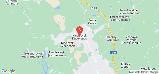 map of Kiselyovsk, Russia