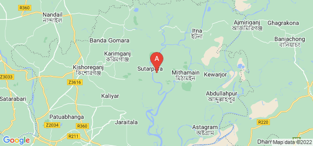 map of Kishoreganj, Bangladesh