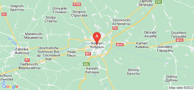 map of Kobryn, Belarus