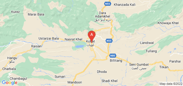 map of Kohat, Pakistan