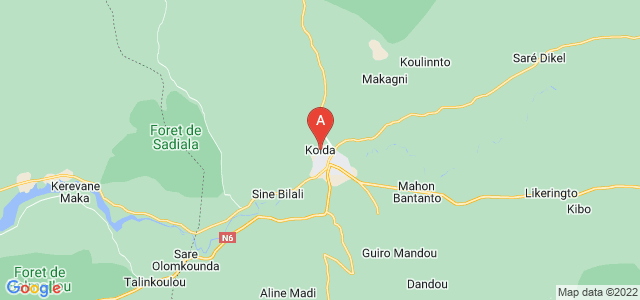 map of Kolda, Senegal
