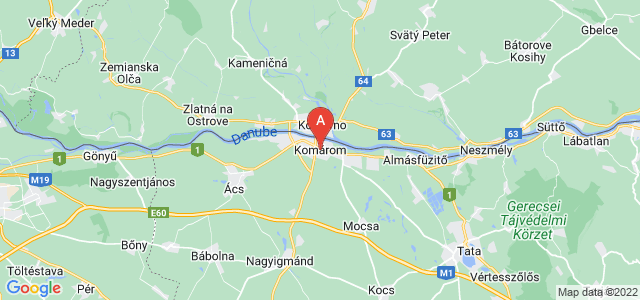 map of Komárom, Hungary
