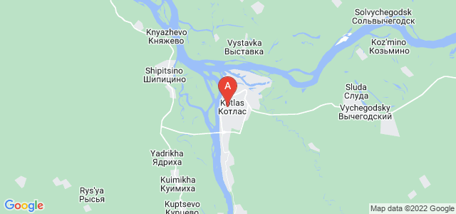 map of Kotlas, Russia