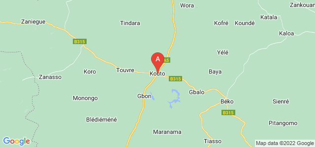 map of Kouto, Ivory Coast