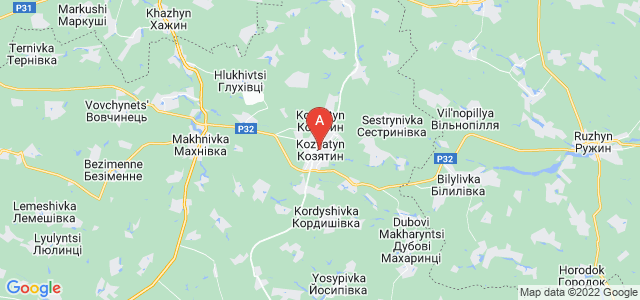 map of Koziatyn, Ukraine
