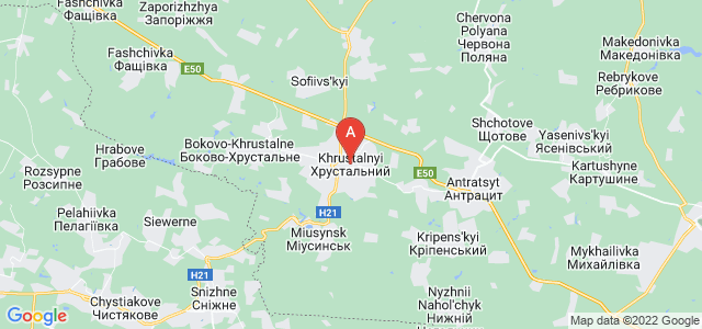 map of Krasnyi Luch, Ukraine