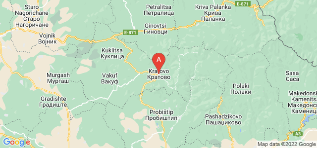 map of Kratovo, Republic of Macedonia