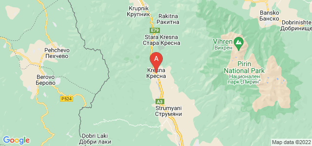 map of Kresna, Bulgaria
