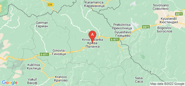 map of Kriva Palanka, Republic of Macedonia